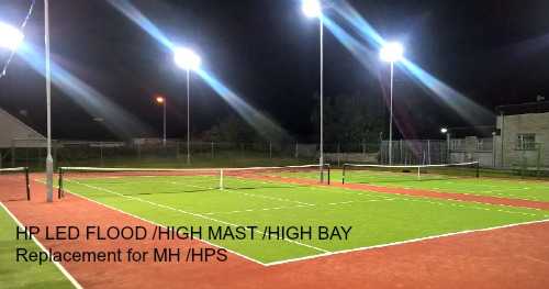 Tennis Court Club Lighting Upgraded to  LED lighting specifically designed High Powered LED Modules.  Gallery Image