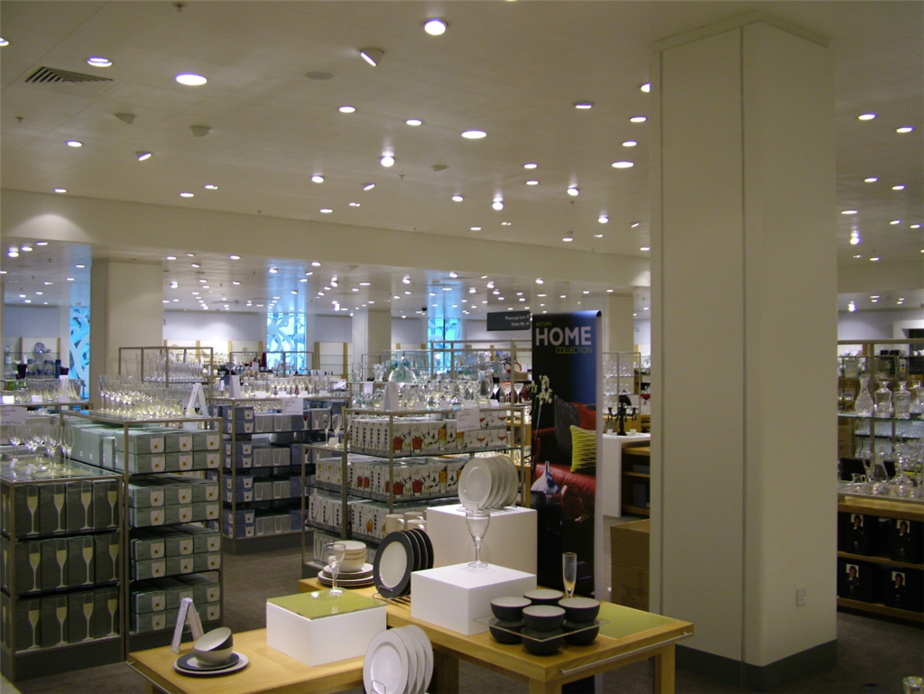 John Lewis Store: Supply & Installation of Laminate Faced Pre-formed Plywood Column Casings including the internal support framework. Gallery Image