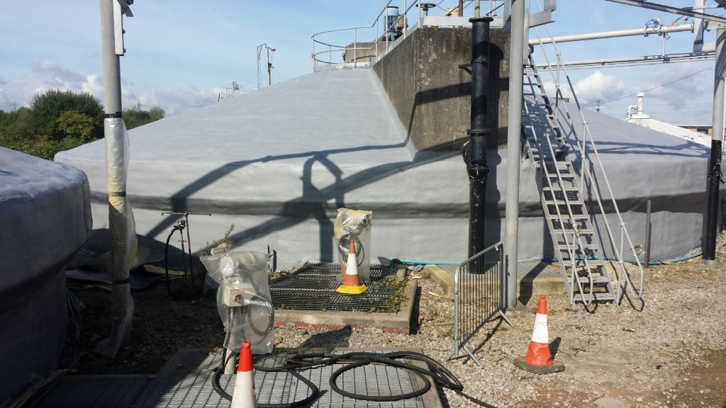 Anaerobic digestion tanks treated with foam and then 2 coats of silicone paint. Gallery Image