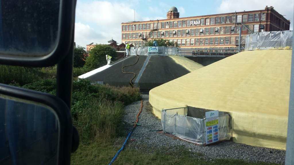 Anaerobic digestion tanks treated with external grade foam for United Utilities. Gallery Image