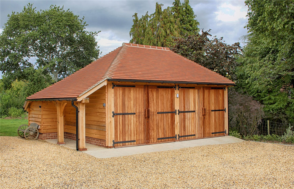 Double oak framed garage in Hampshire, UK. Gallery Image