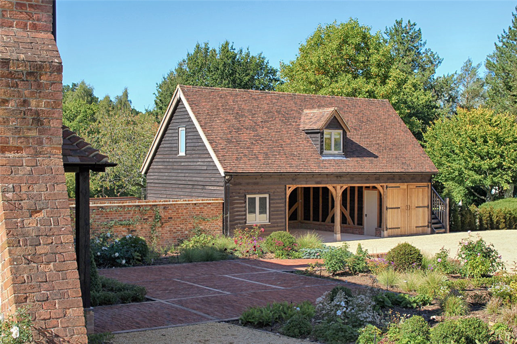 4 bay oak framed barn building at country home in Hampshire Gallery Image