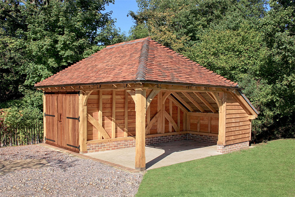 Two bay oak garage with car port. Gallery Image