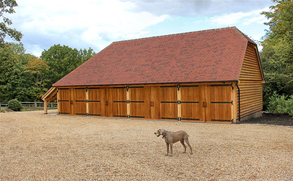 4 bay oak framed garage building. Gallery Image