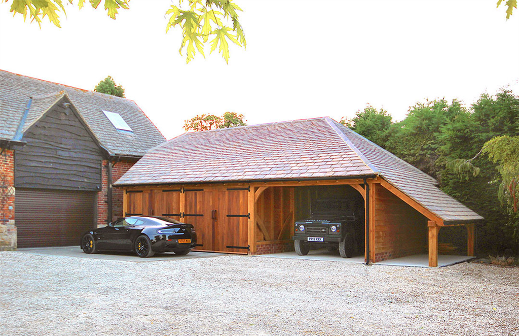 3 bay oak garage barn. Gallery Image