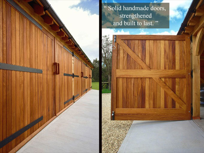 Handmade oak garage doors. Gallery Image
