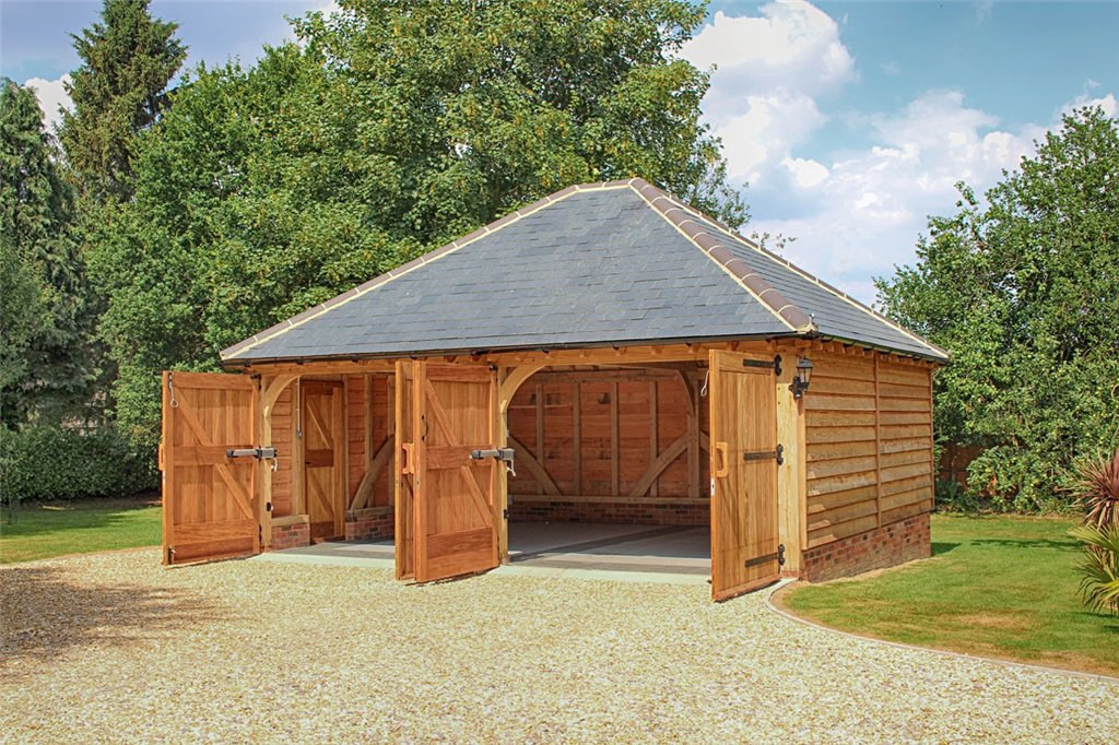 Fully hipped, slate roof, two bay barn garage in Romsey Hampshire Gallery Image