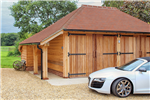 Oak barn style garage in Hampshire. Gallery Thumbnail