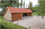 3 bay barn garage made from oak timber. Gallery Thumbnail