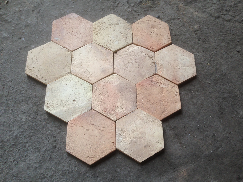 KY2 - Reclaimed Pale Hexagonal Terracotta Tiles - 20 x 150 mm Gallery Image
