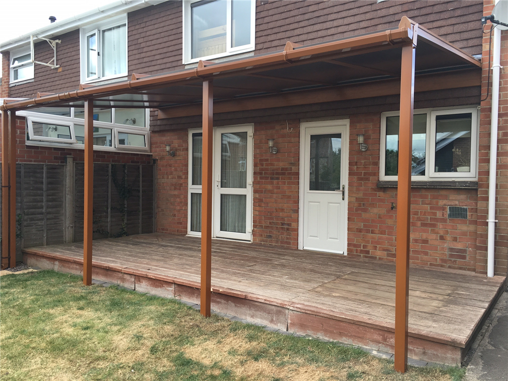 PVC canopy in Golden Oak fitted in Taunton Somerset Gallery Image