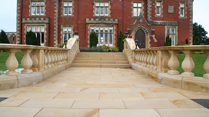 Sandstone paving and balustrade to a private property Gallery Image