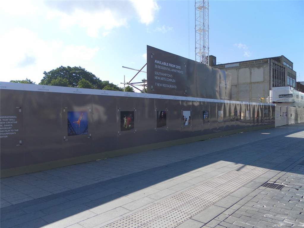 new build Grosvernor Southampton Construction hoarding graphics for development and building companies Gallery Image
