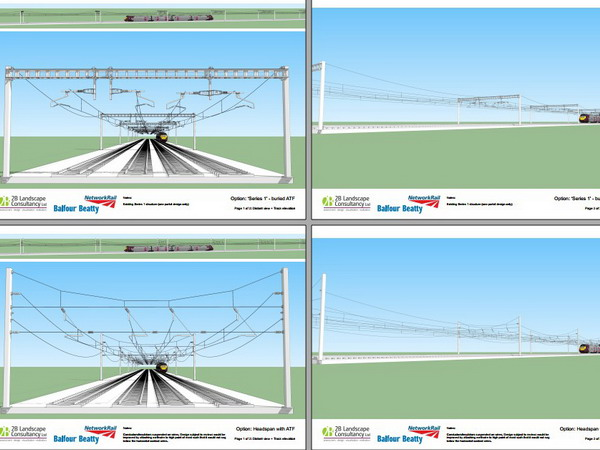 We modelled options for alterations to the Overhead Line Electrics that Network Rail and partners suggested in a workshop. The models help us to understand the extent of the landscape and visual impact in this sensitive AONB location. Gallery Image