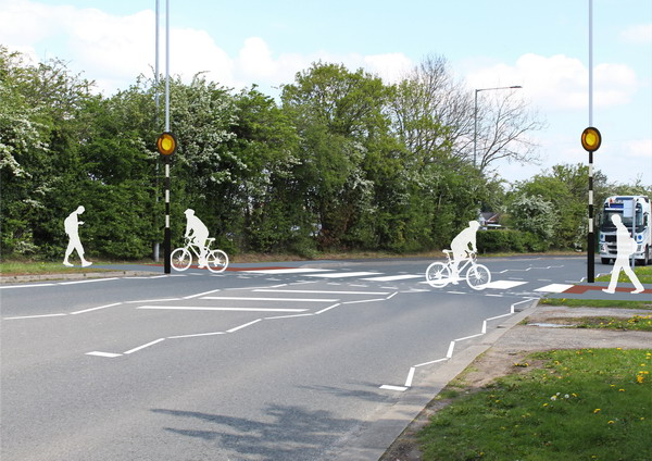 Flintshire Council appointed Local Transport Projects to develop a cycleway. By using the plans provided, 2B created a simple line graphic to help explain and visualise how the cycleway would cross the busy road. Gallery Image