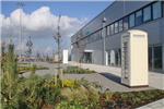 The design for Siemens' office main entrance at the new wind turbine factory in Hull incorporated Sustainable Drainage (SuDS). Permeable 'Flexipave' surfacing, with large areas of planting and trees. Gallery Thumbnail