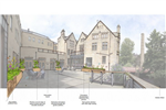 The draft proposal for Hebden Bridge Town Hall courtyard, diverting the downpipes around its edge into rain garden planters. The central space is left clear for events. Gallery Thumbnail