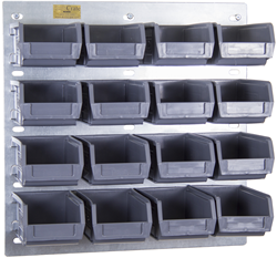 Set 01 Wall Kit – 16 Eco 2 Grey Parts Storage Bins (16 x Eco2 + 1 x LP1 Louvre Panel) Gallery Image