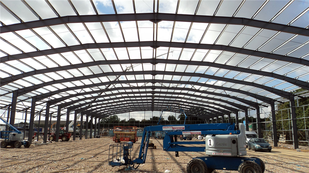 Large span portal frame steelwork for a recycling building. Colchester Skip Hire, Essex. Gallery Image