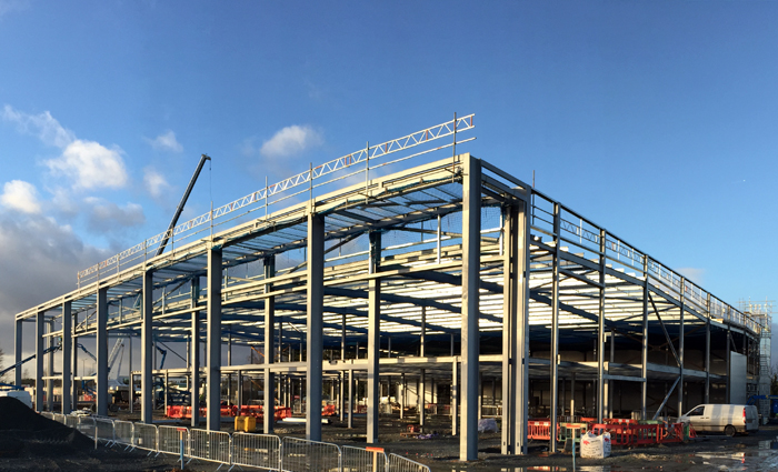 400 tonnes of structural steelwork for NEXT retail store at Norwich, Norfolk. Built for main contractor R.G.Carter Ltd. Gallery Image