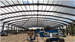 Large span portal frame steelwork for a recycling building. Colchester Skip Hire, Essex. Gallery Thumbnail