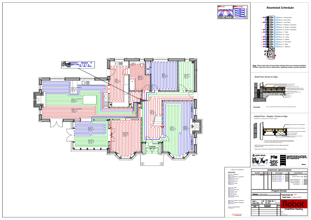 Robot Underfloor Heating typical Colour CAD drawing Gallery Image