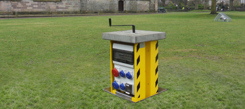 Outdoor power supply at Aberdeen University, provided by Pop Up Power Supplies® Gallery Image