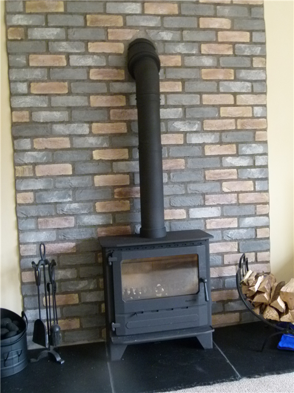 Our Brindle Blend Brick Slips on Kerros Fire Panels. Gallery Image