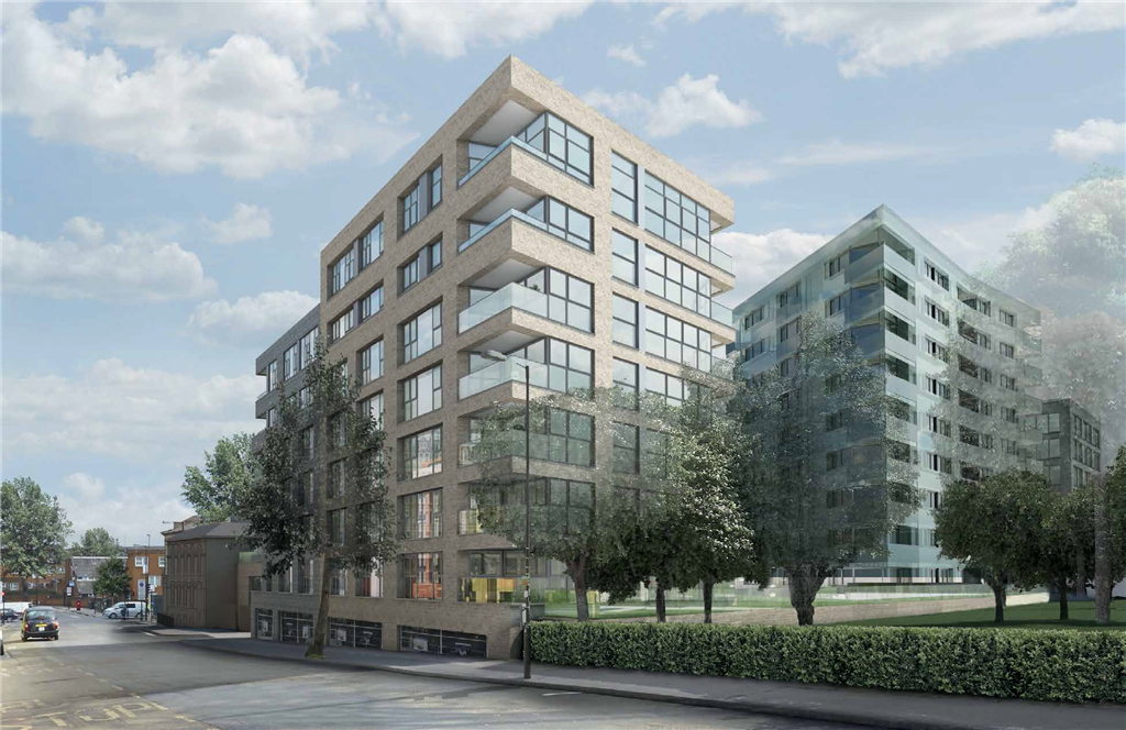Caledonian Wharf mixed use development in London - structural glazing for Ridgeway Gallery Image