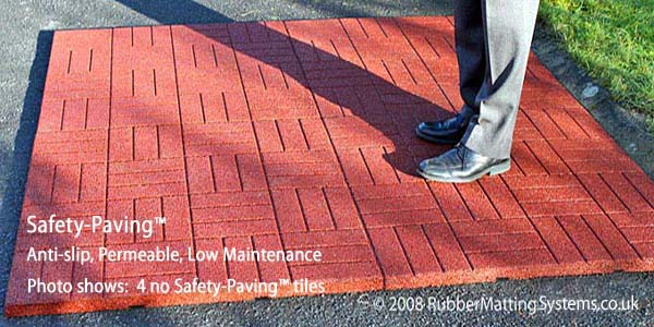 non slip patio - safety paving - red - man standing on tile Gallery Image