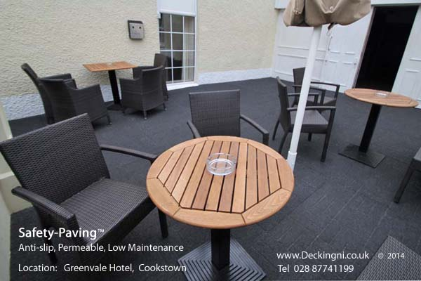anti slip outdoor - rubber safety paving - grey - greenvale hotel Gallery Image