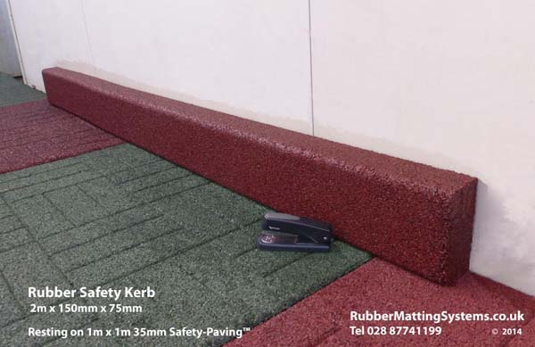 rubber kerb - rubber matting systems - with safety paving Gallery Image