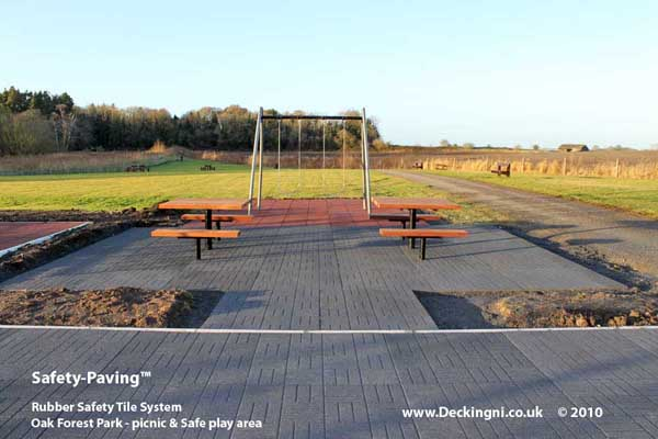 anti slip outdoor - rubber safety paving - grey - oak forest park Gallery Image