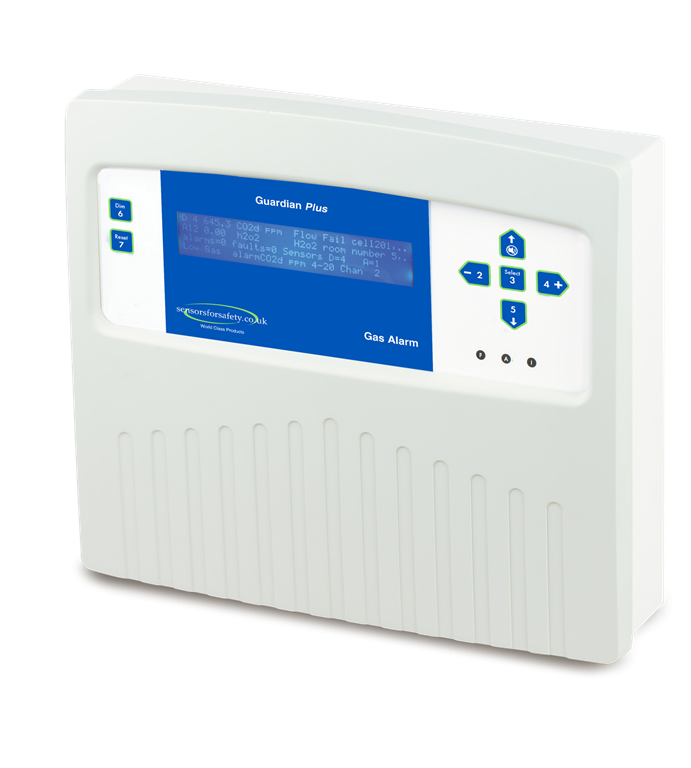 S4S Guardian® Plus Multi-channel gas detection system. Up to 64 sensors covering all gases. Extremely flexible system with addressable and 4-20mA sensors for all gases. RS485 output. Gallery Image