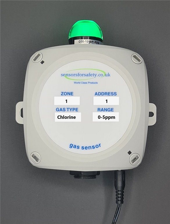 S4S Gaswarden GR stand alone gas sensor with bright colour changing LED and built in sounder. Supplied with 230VAC power supply ready to plug in and go. Gallery Image