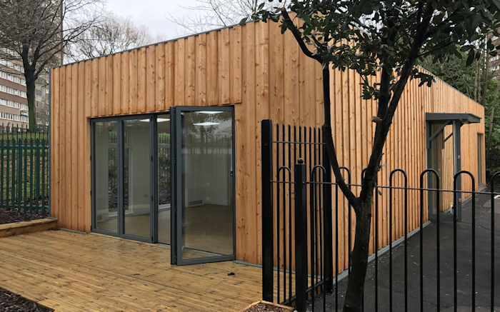 Built from Structural Insulated Panels - SIPs, this School extension provided much needed additional space for the children.   Gallery Image
