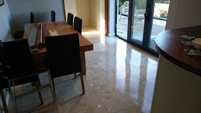 Travertine Dining area cleaned and highly polished Gallery Image