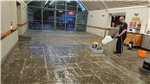 Cleaning a Flagstone Floor in a large Restaurant Gallery Thumbnail