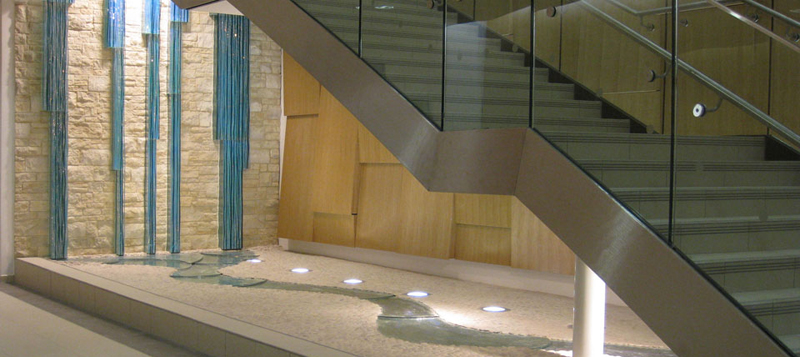 Children's Hospital, Glass Artwork, Glass Waterfall, Public Art Project, Churchill Institute Oxford Gallery Image
