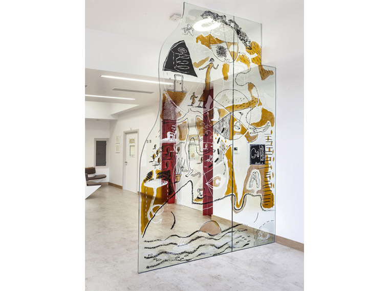 Resin-painted Glass, Public Commission, Illustration by Steven Appleby, Royal Brompton Hospital, Sleep Centre Gallery Image