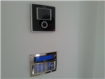 Texecom Chrome effect flush alarm keypad and Comelit Video intercom station installed in a domestic property in Lancashire in 2016. Gallery Thumbnail