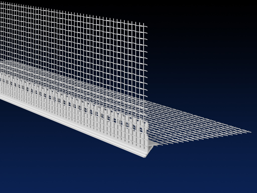Renderplas PVC EWI reveal drip profile with mesh, WDCMESH Gallery Image