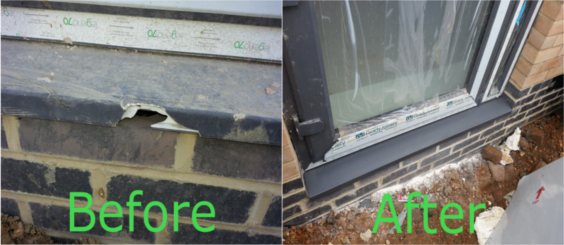 Door Sill Hard Surface Repair - Before and After Gallery Image