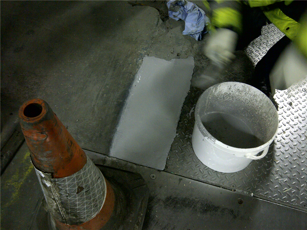 Resbuild MMA Floorpatch Pourable, high strength MMA repair mortar. Used here at -25C. Gallery Image
