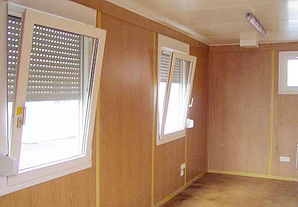 Inside view of flat pack Container Office, showing light oak finish. Gallery Image