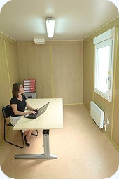 Inside view of Flat-pack Container Office. Gallery Image