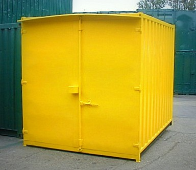 Yellow 10' Container with Single door and Lock Box. Gallery Image