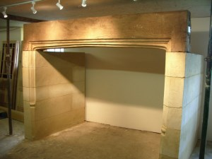 Bath stone inglenook fireplace with carved oak lintel Gallery Image