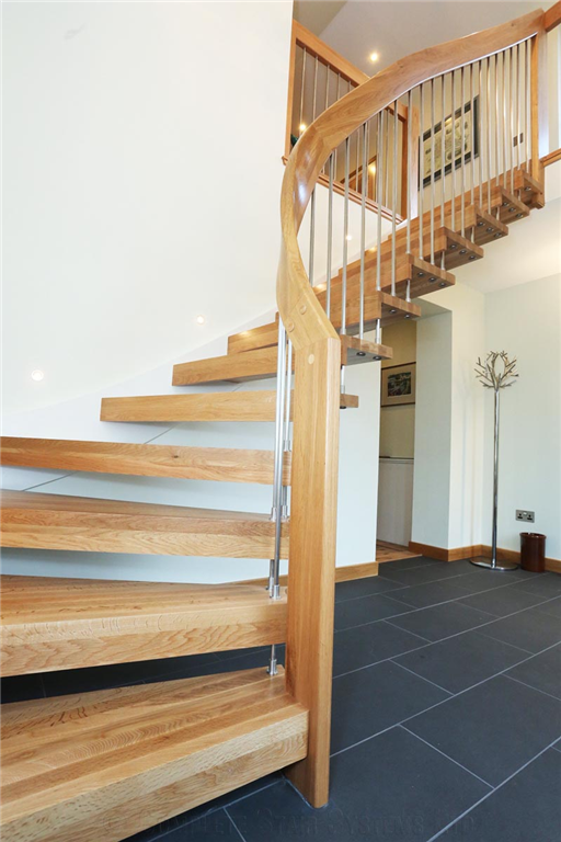 Bespoke Oak timber 1/4 Turn, cover painted stringer, curved stringer and handrail   Gallery Image