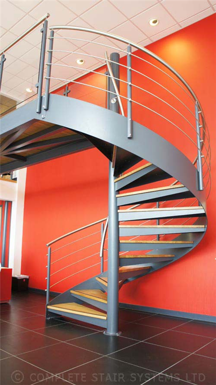 Bespoke Spiral Stair, steel powder coated with external stringer and tread plates topped with 30mm timber  Gallery Image